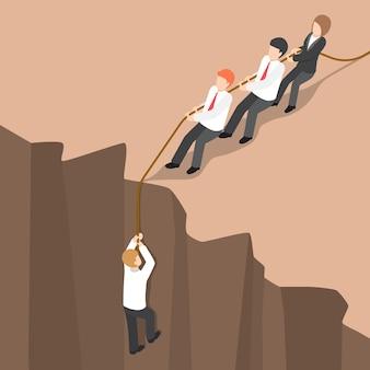 Flat 3d isometrisch business team helpt partner om vanaf de klif omhoog te klimmen. teamwerkconcept.