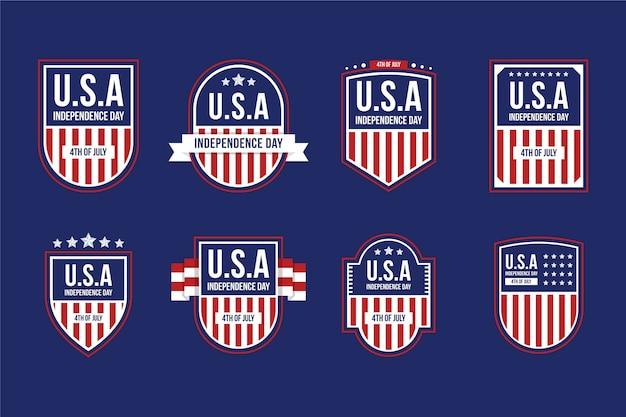 Flat 4 juli - badges collectie van de onafhankelijkheidsdag