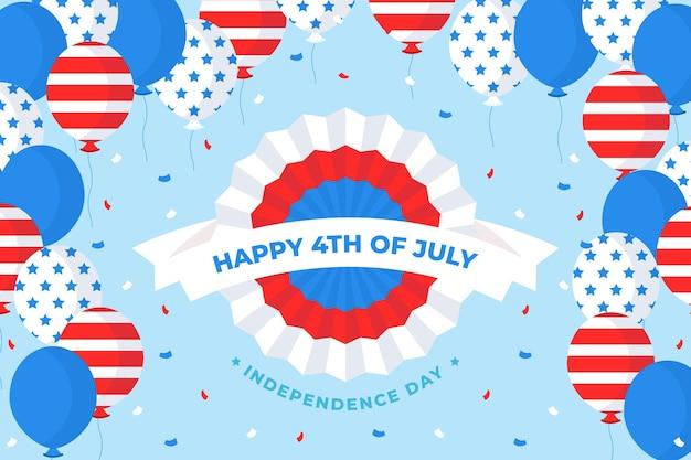 Flat 4 juli - onafhankelijkheidsdag ballonnen achtergrond