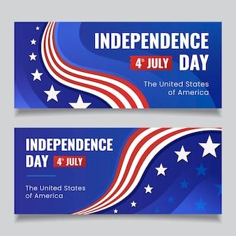 Flat 4 juli - onafhankelijkheidsdag banners set
