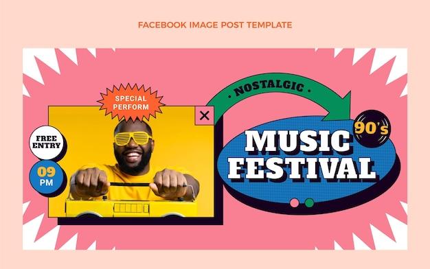 Flat 90s nostalgische muziekfestival facebook cover