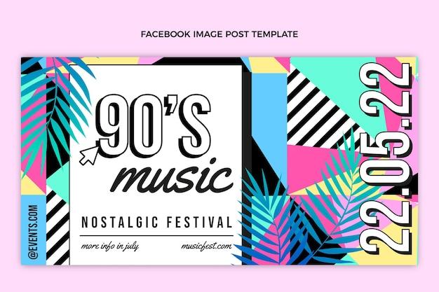Flat 90s nostalgische muziekfestival facebook post