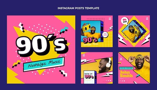 Flat 90s nostalgische muziekfestival instagram post