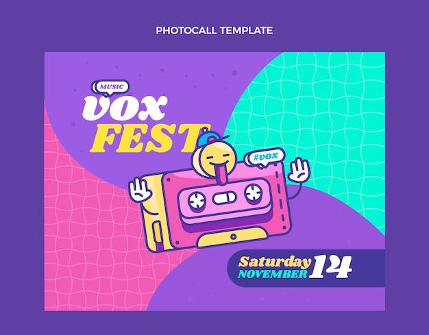 Flat 90s nostalgische muziekfestival photocall