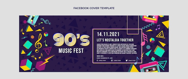 Flat 90s nostalgische muziekfestival social media voorbladsjabloon