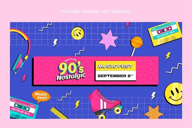 Flat 90s nostalgische muziekfestival youtube channel art
