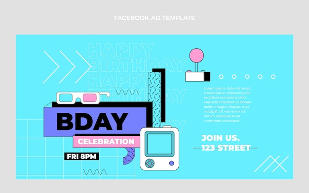 Flat 90s nostalgische verjaardag facebook viering