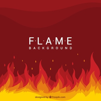 Flat achtergrond met vlammen en golvende vormen