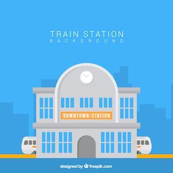 Flat achtergrond van het treinstation