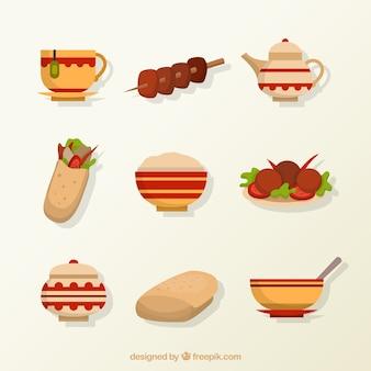 Flat arabische voedsel menu's