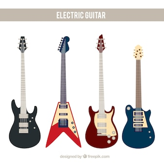 Flat assortiment fantastische elektrische gitaren
