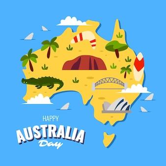 Flat australië dag kaart bovenaanzicht