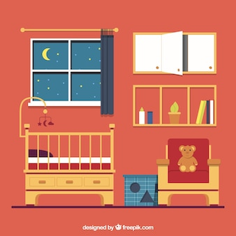 Flat babykamer met bruine meubels