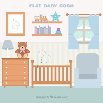 Flat babykamer met houten meubilair en raam