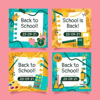 Flat back to school instagram posts collectie