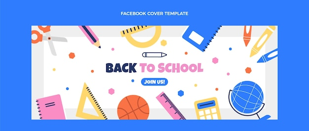 Flat back to school social media voorbladsjabloon