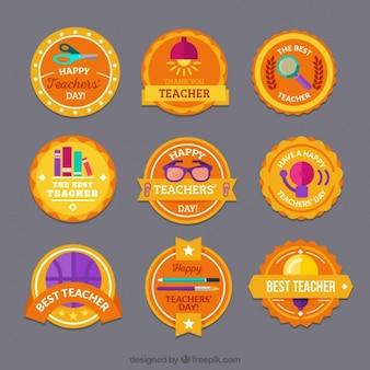 Flat badges voor de dag van de leraar