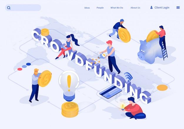 Flat banner crowdfunding vectorillustratie.