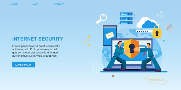 Flat banner internet security protection.