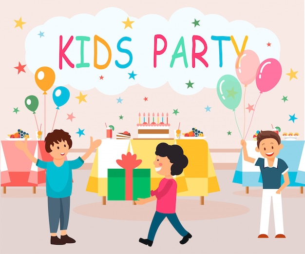 Flat banner is written kids party illustration.