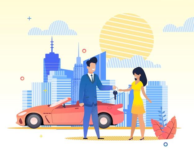 Flat banner man passeert auto sleutels vrouw in jurk.