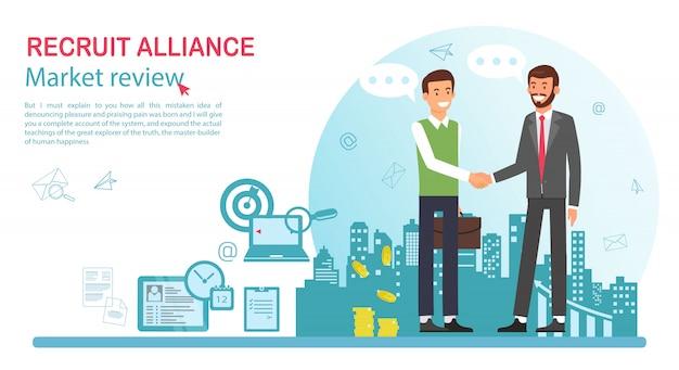 Flat banner recruit alliance job market review.