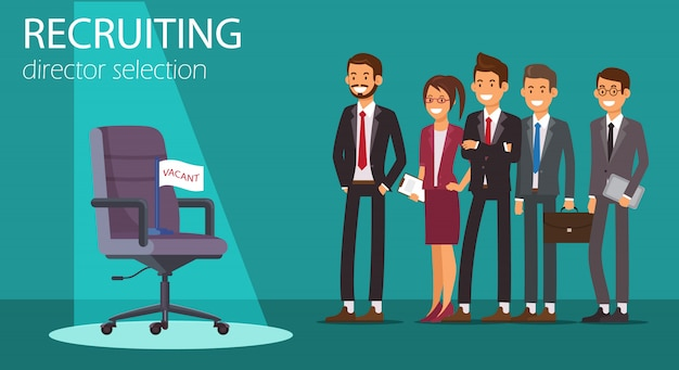 Flat banner recruiting director selection vacant.