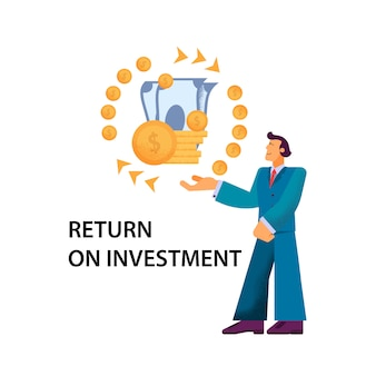 Flat banner return on investment illustratie