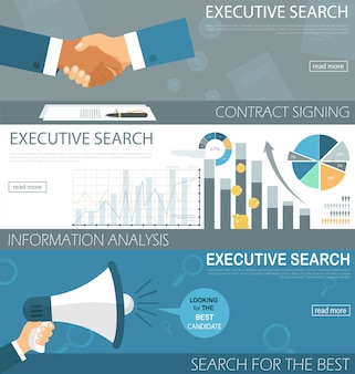 Flat banner set executive search contract signing.