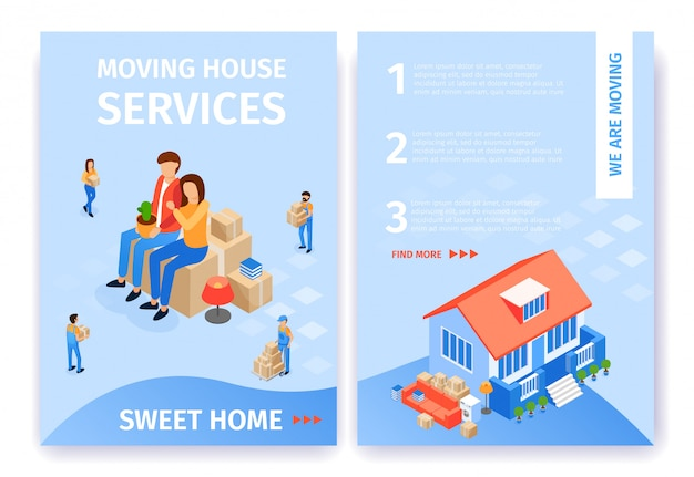 Flat banner set moving house services sweet home.