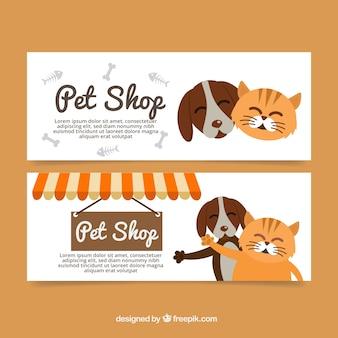 Flat banners met mooie huisdieren