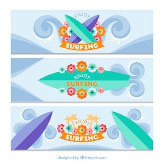 Flat banners met surfplanken