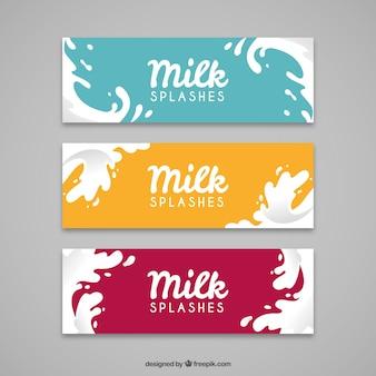 Flat banners van melk splash met verschillende kleuren