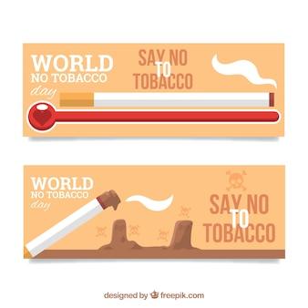 Flat banners voor de werelddag zonder tabak