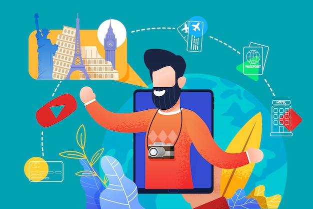 Flat bearded man spreekt over reizen met tablet
