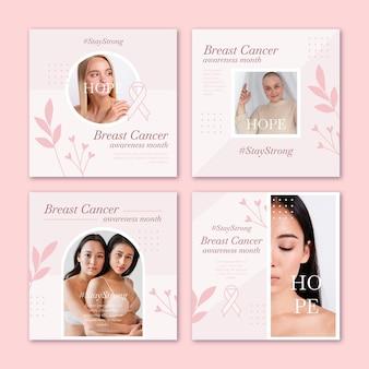 Flat borstkanker bewustzijn maand instagram posts collectie met foto