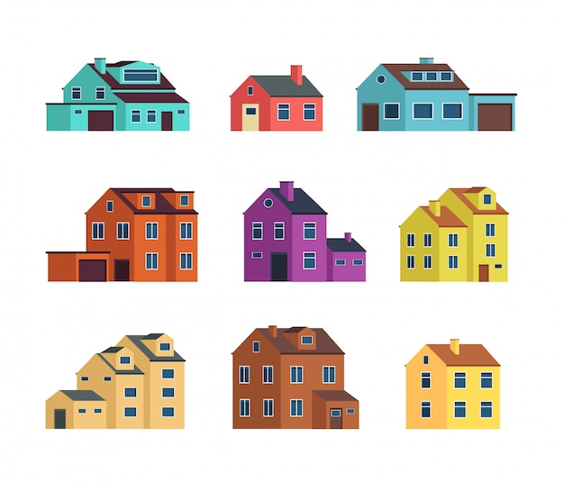 Flat cartoon herenhuizen, cottage gebouwen met deuren en ramen.