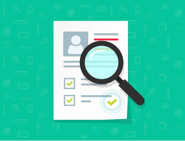 Flat cartoon papieren document onderzoek met persoonlijke gegevens en goedgekeurde stempel vectorillustratie