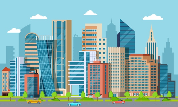 Flat centrum stadsgezicht