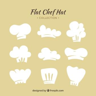 Flat chef-kok hoed selectie