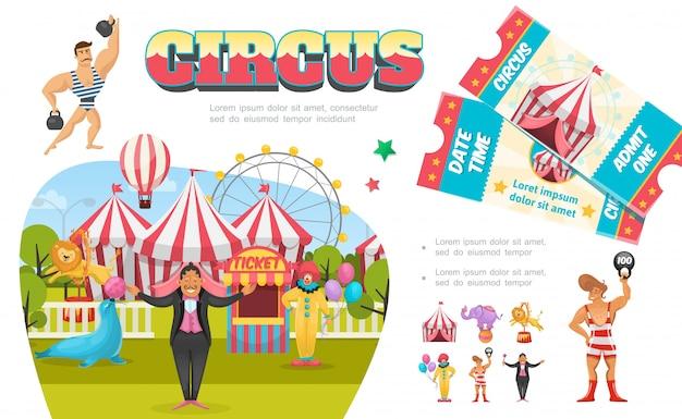 Flat circus elementen samenstelling met sterke clown goochelaar tent reuzenrad ticket stand leeuw zegel olifant uitvoeren van verschillende trucs