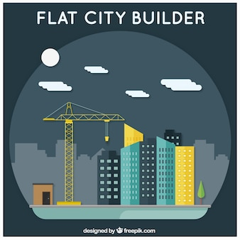 Flat city builder, nachtscène