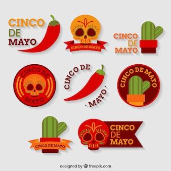 Flat collectie van gekleurde stickers voor cinco de mayo