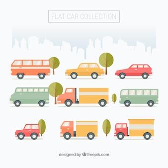 Flat collectie van stedelijke voertuigen