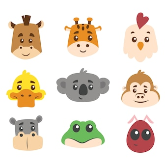 Flat cute animal head collection set