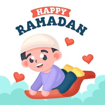 Flat cute ramadan met schattige jongen illustratie