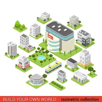 Flat d isometrische stad bouwsteen winkelcentrum