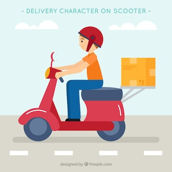 Flat deliveryman op de weg