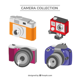 Flat-design camera collectie met go-pro