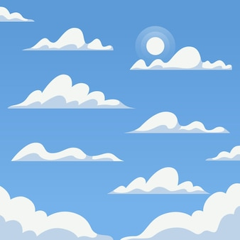 Flat design cloud in the sky-collectie